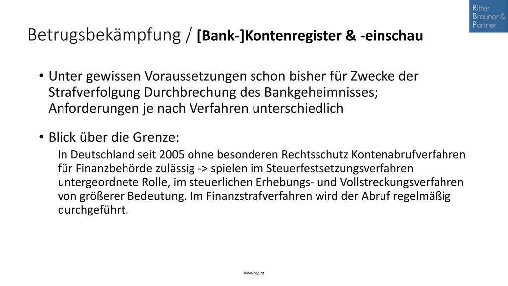Betrugsbekämpfung / [Bank-]Kontenregister & -einschau